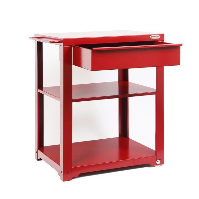 le marquier desserte pour plancha en acier 68x65cm sur roulettes non apparentes kintoa rouge. Black Bedroom Furniture Sets. Home Design Ideas