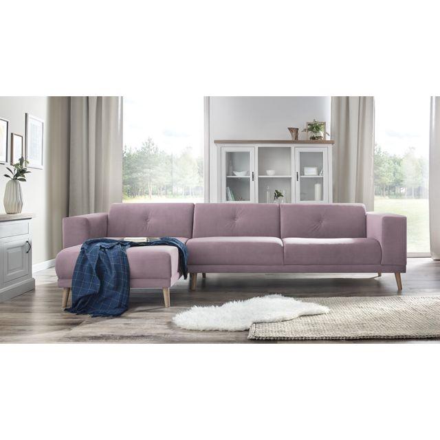 bobochic luna canape d 39 angle gauche pouf rose poudr 6 places 95cm x 75cm x 308cm. Black Bedroom Furniture Sets. Home Design Ideas