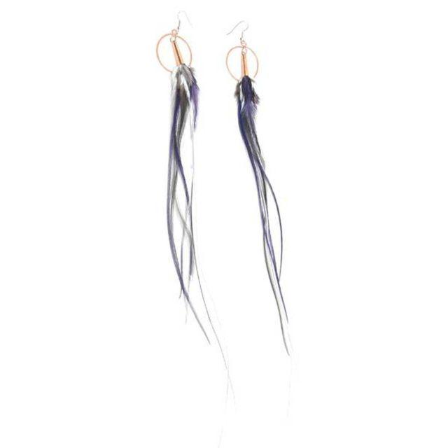 Ruby Feathers Boucles d'oreille plume pt anneau 12cm gris violet