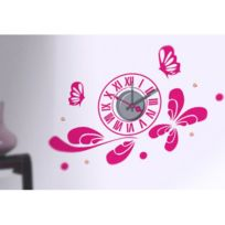 Privatefloor - Horloge Murale Sticker Design Pink butterflies Taille unique