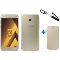 Samsung - Galaxy A3 2017 Or + Perche selfie blanc SSF64UF + Neon Flip Cover Galaxy A3 2017 - Or