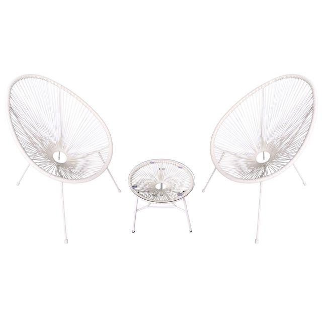HAPPY GARDEN Ensemble de 2 fauteuils oeuf + table ACAPULCO blanc