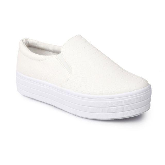 La Modeuse - Baskets slip-on croco blanc - pas cher Achat   Vente ... 3d9264583348