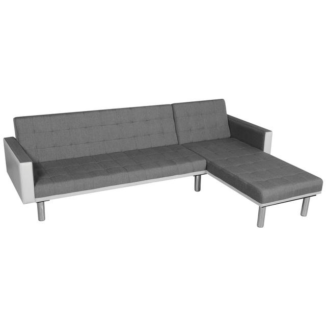 Vidaxl Canapé-lit en forme de L Tissu Blanc et gris