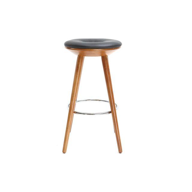 miliboo tabouret de bar scandinave 65cm pu noir pieds noyer nordeco pas cher achat vente. Black Bedroom Furniture Sets. Home Design Ideas