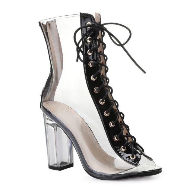 2dbf0d334b96 Lamodeuse - Bottines peep-toes noires transparentes à lacets 39 ...