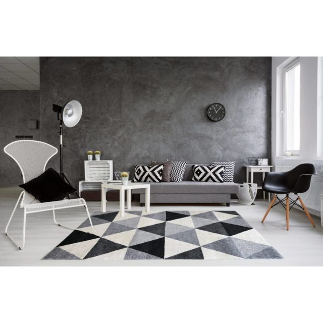 allotapis tapis g om trique style scandinave gris pour salon gomi 120 170 pas cher achat. Black Bedroom Furniture Sets. Home Design Ideas
