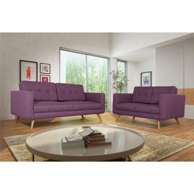 Rocambolesk Canapé Hedvig 3+2 savana 70 prune pieds naturels sofa divan