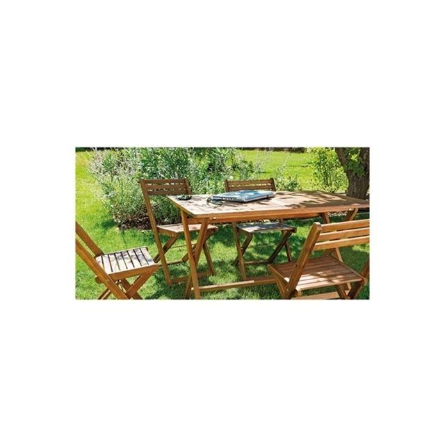 Table rectangulaire pliante Yuma. Dim L.120 x l.70 x H.74 cm. Structure en acacia Fsc Origine Vietnam
