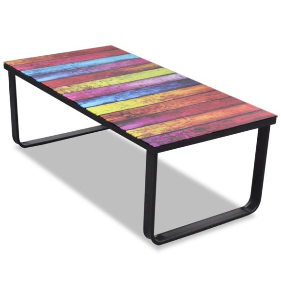 Rocambolesk - Superbe Table basse en verre Design arc-en-ciel Neuf