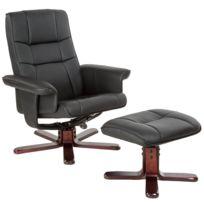 prix le plus bas 3b02d 625ff Fauteuil Relax Inclinable et Pivotant avec Repose Pied Noir - Pieds en bois  foncé