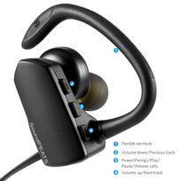 Alpexe - Oreillette Bluetooth 4.1 stéréo casque sans fil sport anti-transpiration écouteur intra-auriculaire avec la technologie Aptx et le microphone intégré compatible avec Iphone, ipad, samsung, sony et la plupart des smartphones Q9A Noir