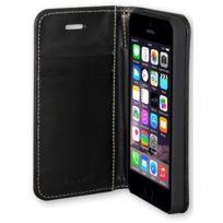 My way - Etui folio Wallet book cuir noir pour Apple iPhone 5/5S