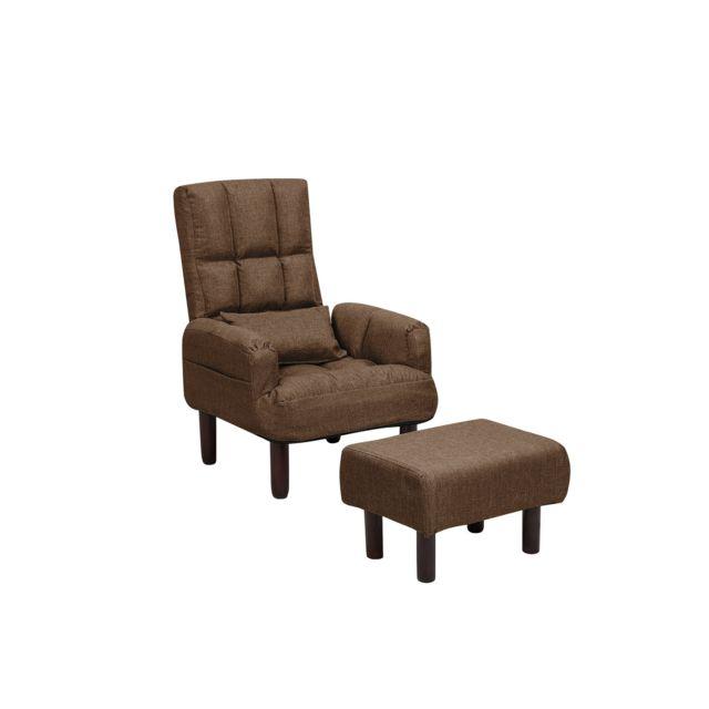 BELIANI Fauteuil et repose-pieds en tissu marron OLAND - marron