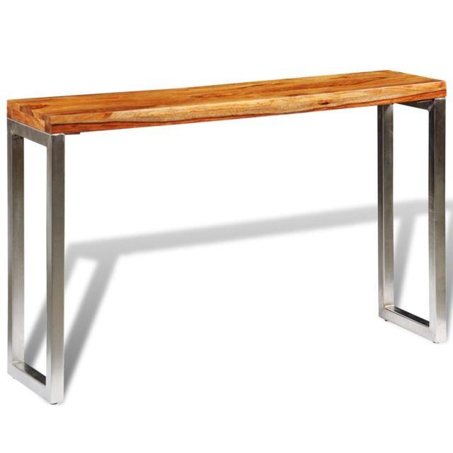 Stylé Consoles ensemble Tirana Table console avec pieds en acier Bois massif de sesham