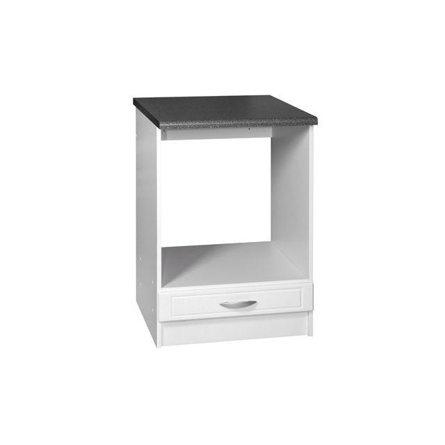 Meublesline meuble bas four encastrable 60 cm dina blanc - Meuble colonne cuisine 60 cm ...