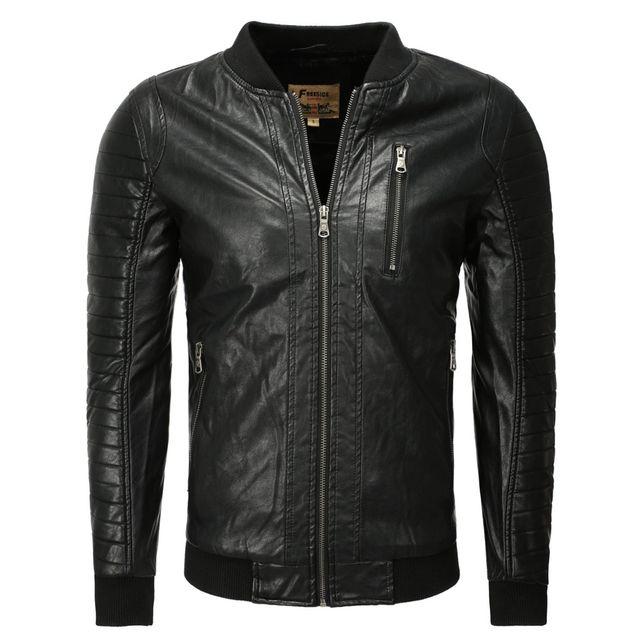 Freeside - Blouson cuir pour homme Blouson tendance 1027 noir