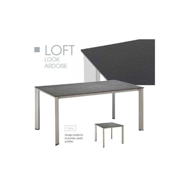 Kettler - Table de jardin Loft Ardoise en résine et aluminium - pas ...