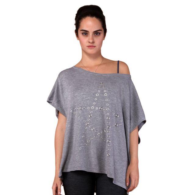 450fd84b9093a Destockage - Pull gris étoile - pas cher Achat   Vente Pulls femme ...