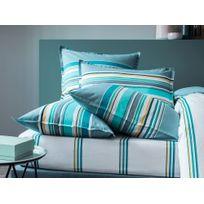 Matt&ROSE - Taie d'oreiller réversible 100% coton frise centrale rayure bayadère Esprit Graphique - Orage - 65X65cm