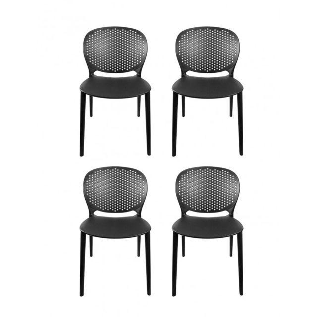 Bily légères et Lot robuste Noires empilable 4 chaises u1TlFJcK3