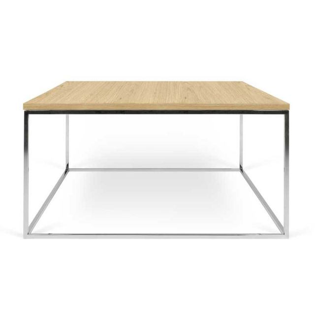 Tousmesmeubles Table basse carrée Métal chromé/Chêne clair - Bangbe
