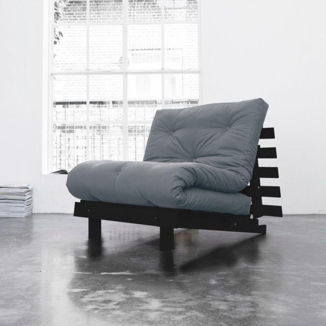 TERRE DE NUIT Pack matelas futon gris clair coton structure en bois wengé 160x200