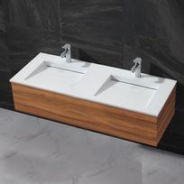 Rue Du Bain - Lavabo double vasque à poser - Solid surface Blanc mat - 120x50 cm - Duo