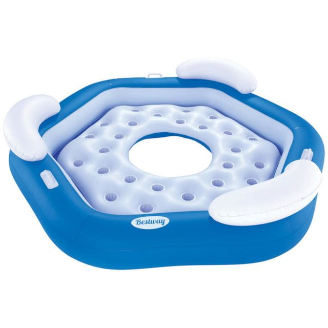 Best Way Matelas gonflable plage piscine Bestway X3 island bleu Bleu 58191