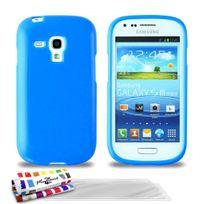 """Muzzano - Coque Souple Ultra-Slim """"Le Glossy Premium"""" Bleu pour Samsung Galaxy S3 Mini + 3 Films de protection ?cran"""