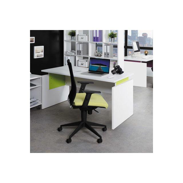 Bureau professionnel droit 140x80 cm coloris blanc et anis