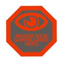 Cfp Securite - Stick-4 - Autocollant dissuasif vidéo surveillance pour portail