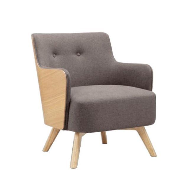 Mathi Design Ulvik - Fauteuil scandinave en tissu gris et bois