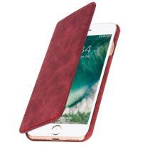 Avizar - Etui iPhone 7 et 8 Housse Portefeuille Clouté Effet Daim Coque rigide - Rouge