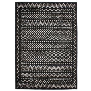 mon beau tapis tapis motifs ethniques noir blanc 133x190cm florence ethno pas cher achat. Black Bedroom Furniture Sets. Home Design Ideas