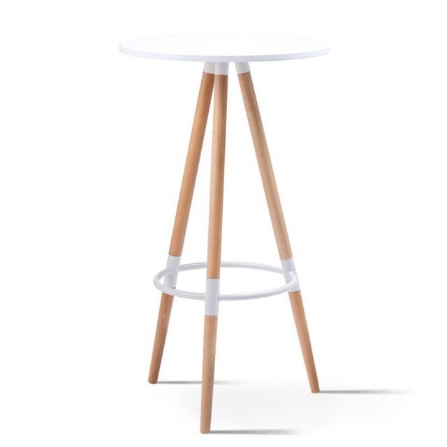scandinave haute ronde Table de Sara blanche bar CrxodeB