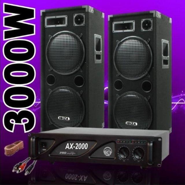 Ibiza Sound Pack sono dj 3000w avec 2 enceintes 1500w - 1 ampli 2000w