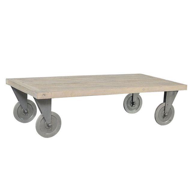 Jardin D\'ULYSSE - Table basse à roulettes Longueur 130 x Largeur ...