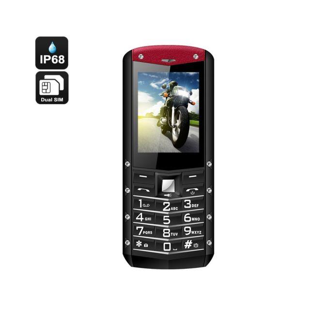 Auto-hightech Téléphone robuste - Ip68, Longue durée de vie 1970mAh, Double Sim, Quad Band 2G, Lampe de poche Rouge
