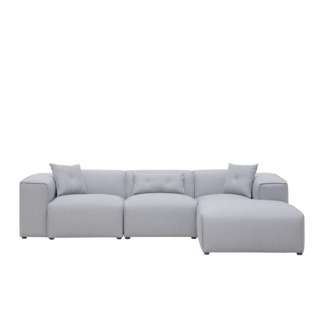 BELIANI Canapé d'angle en tissu gris clair DOLVA - gris clair