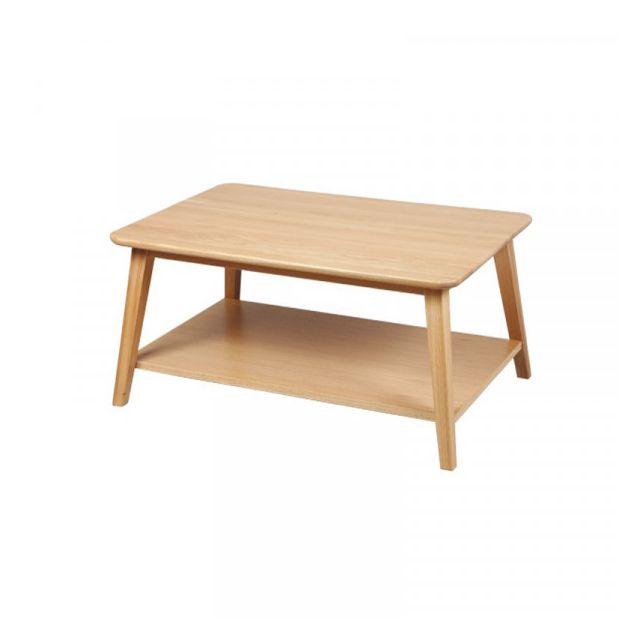 Dansmamaison Table basse Rectangulaire Bois chêne - Taquin - L 90 x l 60 x H 40 cm