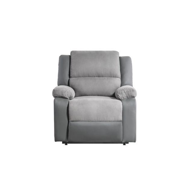 USINESTREET Fauteuil de Relaxation Releveur électrique 1 place Microfibre / Simili DETENTE - Couleur - Gris