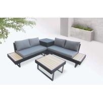 Palma - Salon de jardin en angle 5 places - Aluminium / Composite - Coffre  Couleur - Noir / Gris
