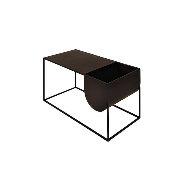 Table basse rectangulaire avec rangement en métal noir - Charlton