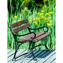 Garden - Banc de jardin en bois couleur noyer et aluminium 150cm avec accoudoirs