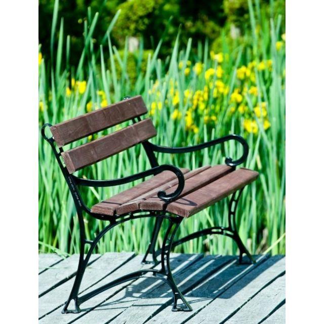 Garden Banc de jardin en bois couleur noyer et aluminium 150cm avec accoudoirs