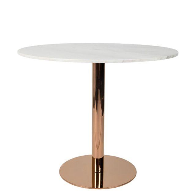 Inside 75 Table de repas ronde King plateau marbre blanc 90 cm pied cuivre
