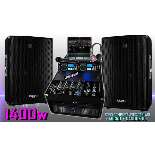 Ibiza Sound Sono complète 1400w avec enceintes sono ampli double lecteur cd mixage micro dj casque - la totale pa dj