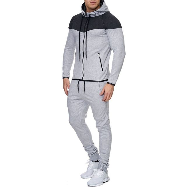 Marque Generique - Ensemble jogging sport homme Survêt 711 gris clair 8724fc449f52