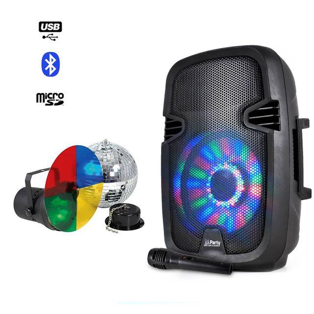 Party Sound Enceinte batterie Bluetooth Led + Boule à facettes 20cm + Spot Par56